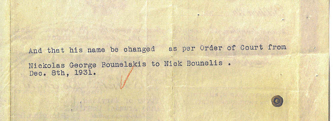 Nick Bounelis name changed